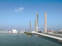 Le futur pont levant de Bordeaux en suspens