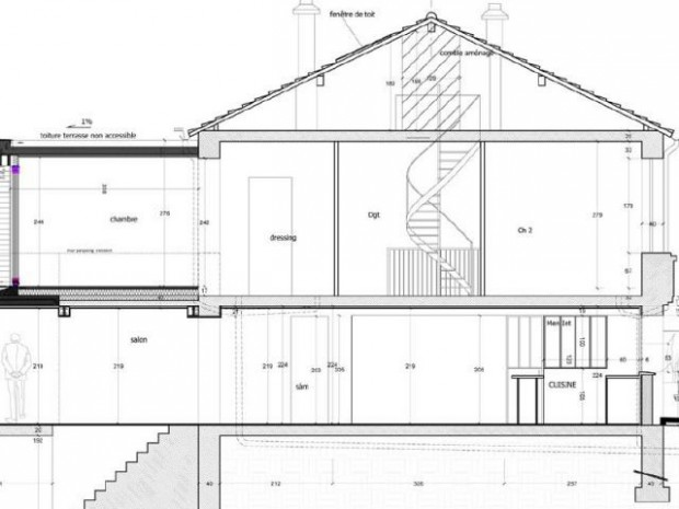 Le plan coupe de l 39 extension for Maison lilas