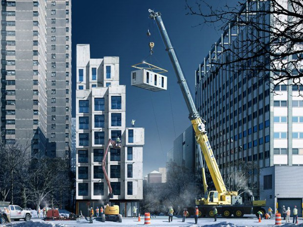 Une mini tour modulaire en construction à New York