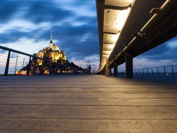 Visite de François Hollande le 1er novembre 2015 pour l'inauguration du rétablissement du caractère martime du Mont Saint Michel