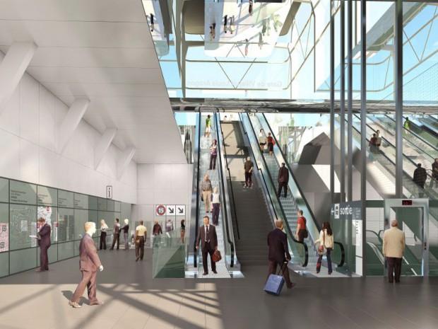 La future gare de Villejuif-Louis-Aragon, (Val-de-Marne) réalisée par Philippe Gazeau, architecte-urbaniste sur la ligne 15.