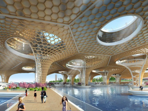 Manta ray une structure nid d 39 abeilles en clt for Architecture biomimetique