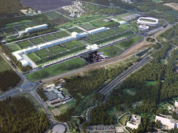 Vue du futur centre d'entraînement et de formation du club à Poissy (Yvelines)