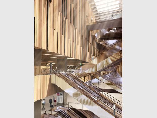 Grand Paris Express : réalisation de la gare de Saint-Denis Pleyel (Seine-Saint-Denis) imaginée par l'architecte japonais Kengo Kuma