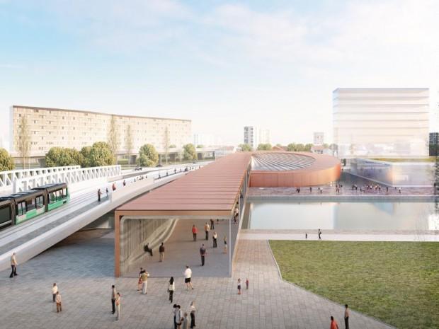 Grand Paris Express : réalisation de la gare Pont de Bondy (Seine-Saint-Denis) imaginée sur la ligne 15 Est par l'architecte danois Bjarke Ingels de l'agence Bjarke Ingels Group associée à l'agence Silvio d'Ascia Architecture.