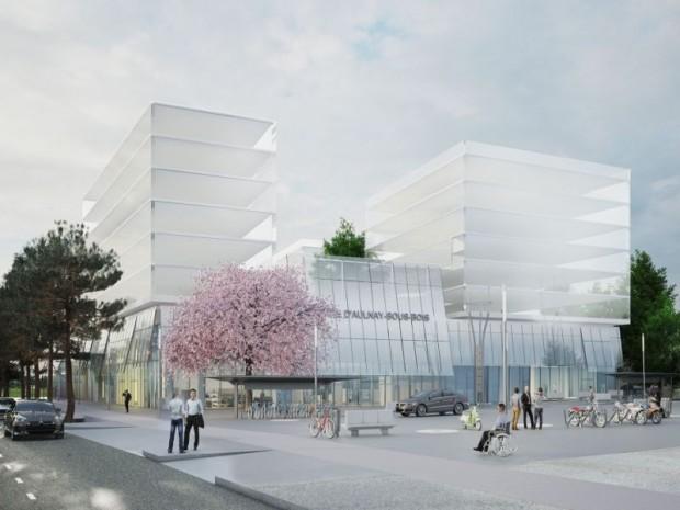 Grand Paris Express : réalisation de la gare d'Aulnay-sous-Bois (Seine-Saint-Denis) imaginée sur la ligne 16 par l'agence Beckmann-N'Thépé