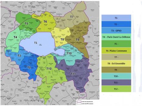Carte des 12 territoires de la Métropole du Grand Paris
