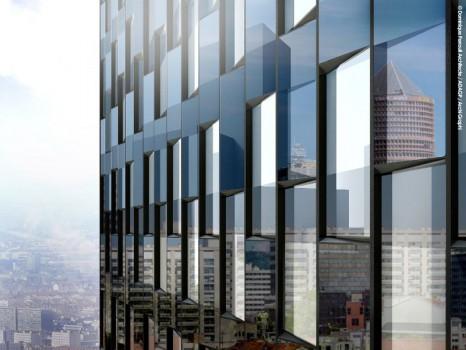Réalisation de la tour Two Lyon à Lyon conçue par l\'architecte Dominique Perrault