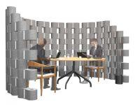 Un mur en bloc de textile recyclé