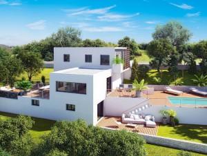 Une villa contemporaine à flanc de colline mise ...