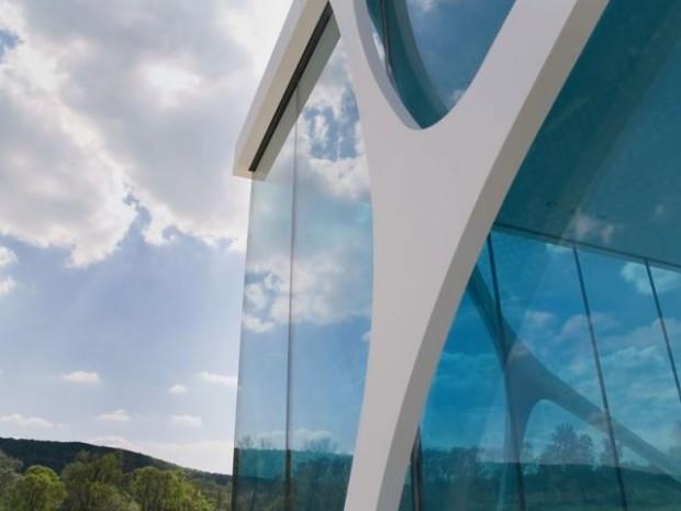 Glass cube façade