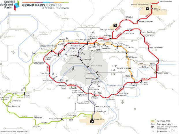 Carte du Grand Paris Express réactualisée