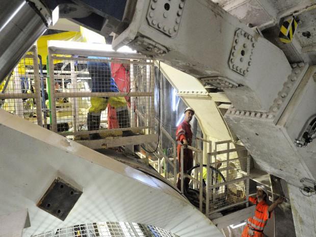 Creusement et travaux du deuxième tube du tunnel du Frejus