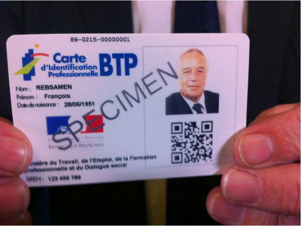 Carte identification BTP