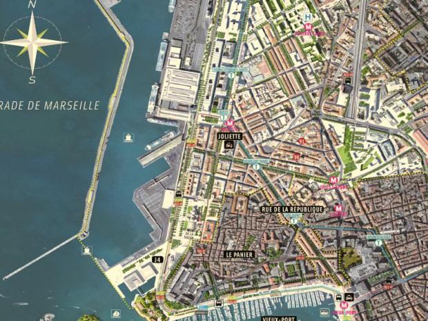 Carte focus du quartier de la Joliette Marseille