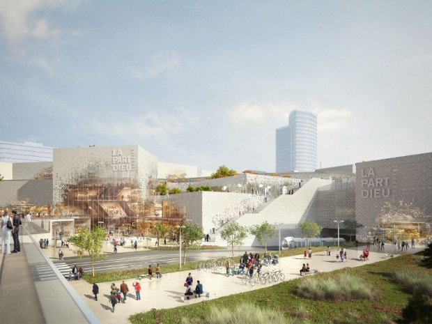Le centre commercial Lyon-Part Dieu à Lyon et Unibail-Rodamco