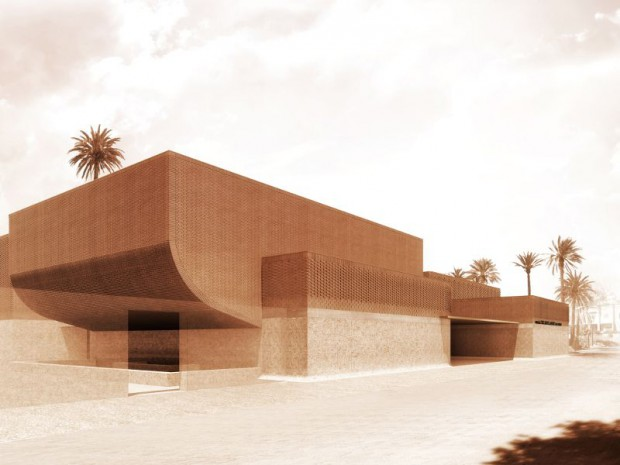 Musée Yves Saint Laurent à Marrakech, façade est, entrée du musée