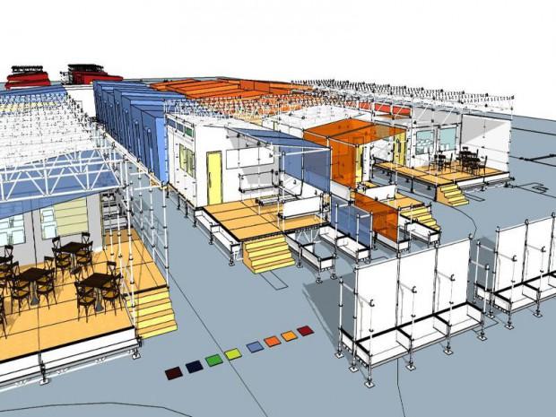 Le futur centre humanitaire pour migrants, situé dans le nord de Paris, au 70 boulevard Ney dans le 18 ème arrondissement de Paris.