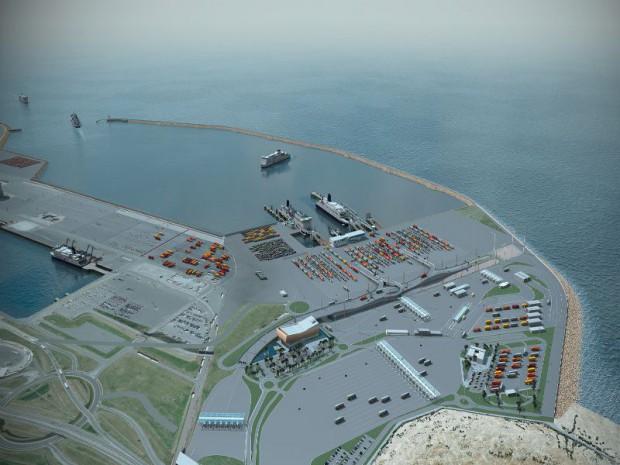 Vue d'ensemble de la perspective d'extension du Port de Calais