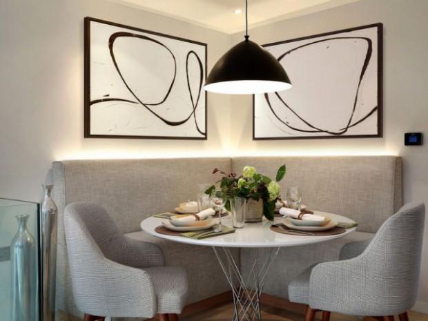 Une salle à manger vintage et rétroéclairée