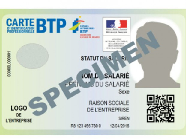 Carte d'identification BTP