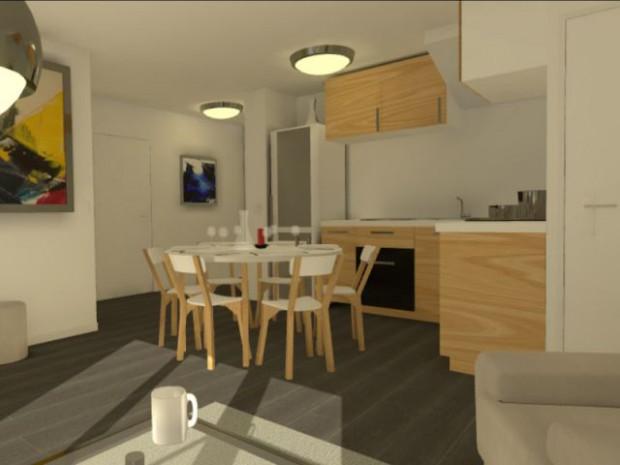 Une salle à manger modelisée en 3D