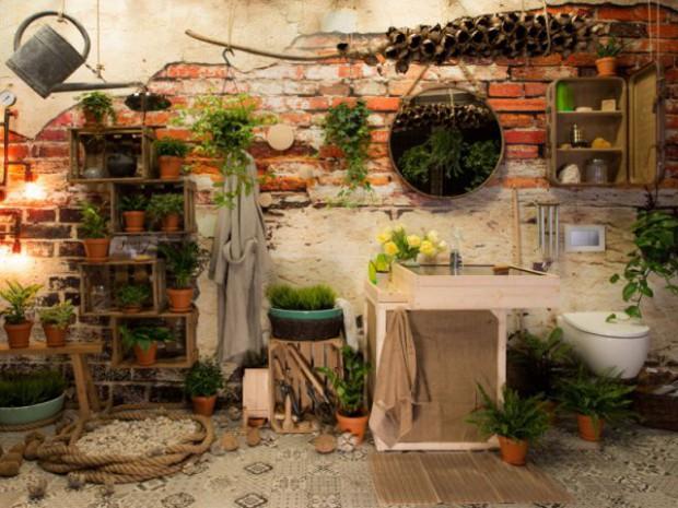 Une salle de bains comme un jardin