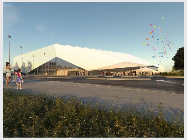 Réalisation de la halle d'athlétisme couverte de Miramas (Bouches-du-Rhône)