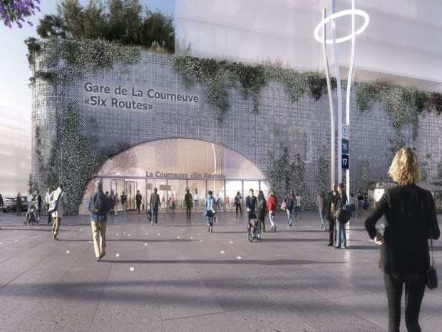 Réalisation de la gare du Grand Paris Express, La Courneuve Six Routes (Seine-Saint-Denis) sur les lignes 16 et 17 par les architectes Frédéric Chartier et Pascale Dalix.