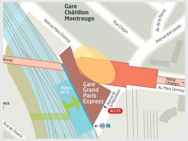 Réalisation de la gare du Grand Paris Express de Châtillon-Montrouge (Hauts-de-Seine) sur la ligne 15 sud, imaginée par David Trottin chez Périphériques Architectes