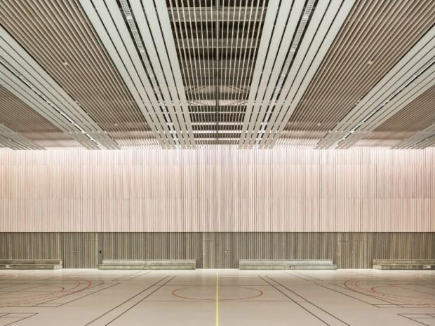 Réalisation du groupe scolaire Simone Veil et gymnase Colette Besson imaginé à Lingolsheim (Bas-Rhin) par Richter Architectes et associés
