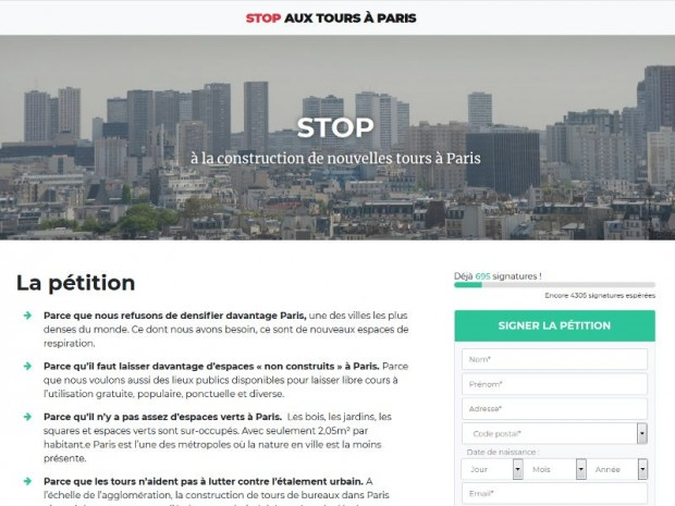 Pétition tours à Paris