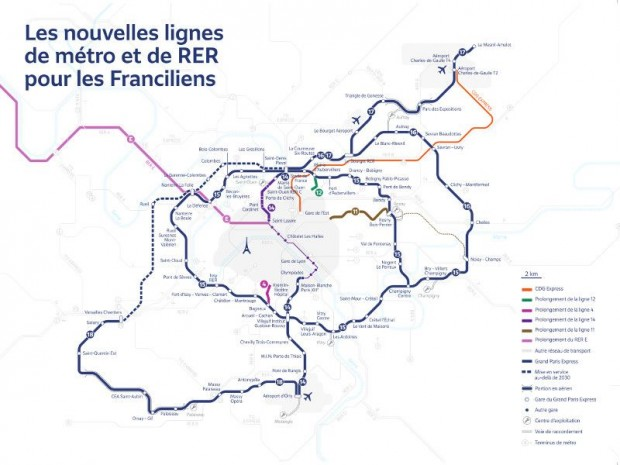 Carte du Grand Paris Express (22/02/2018)