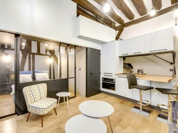 Après : une cuisine tout équipée et un intérieur transformé