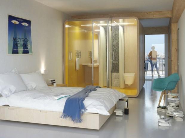 Vivre bois chambre et salle de bains