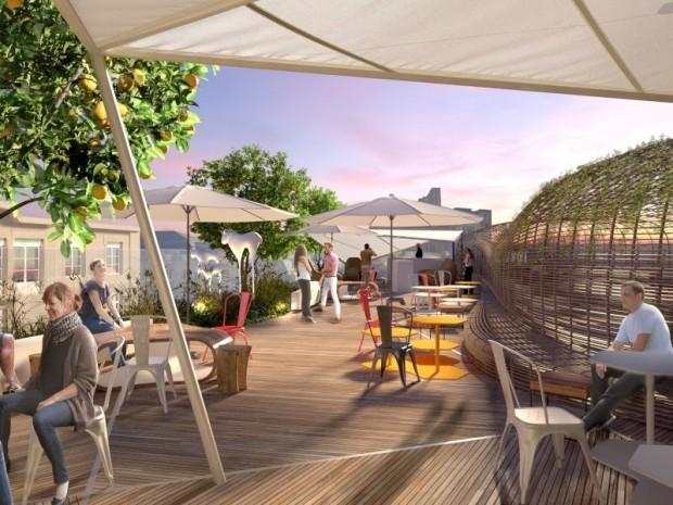 Le toit de la future auberge de jeunesse Jo&Joe