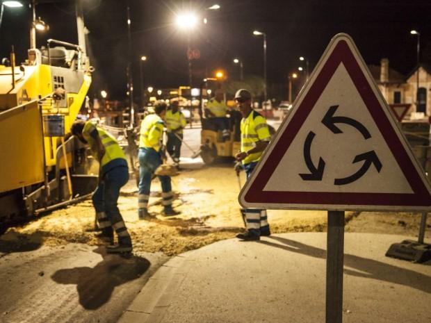 Chantier travaux publics routiers