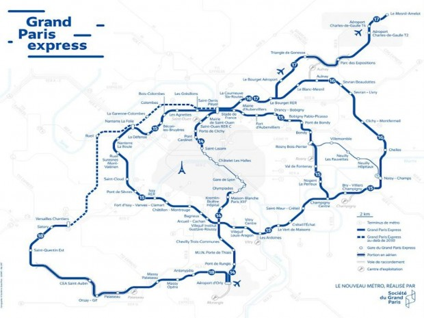 Carte du futur métro du Grand Paris Express