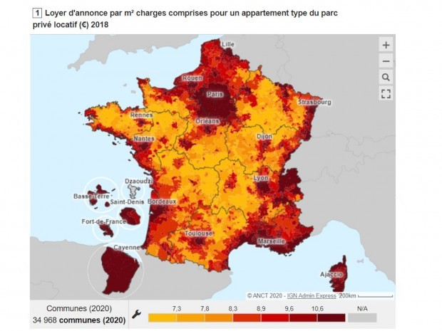 Carte interactive des loyers