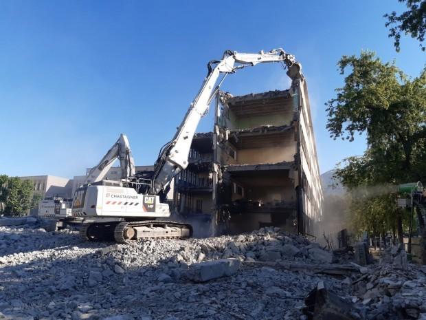 Chantier démolition Lycée Mounier, Grenoble