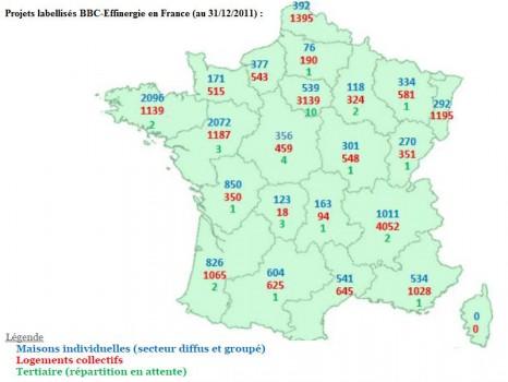 BBC effinergie carte France fin 2011
