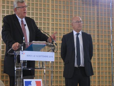 PLF2016 Christian Eckert et Michel Sapin à Bercy