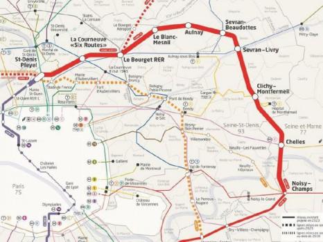 carte ligne 16 Grand Paris