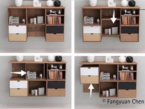 """Projet """"Moving Cabinets"""": les étagères tournantes se déplacent du bas vers le haut"""