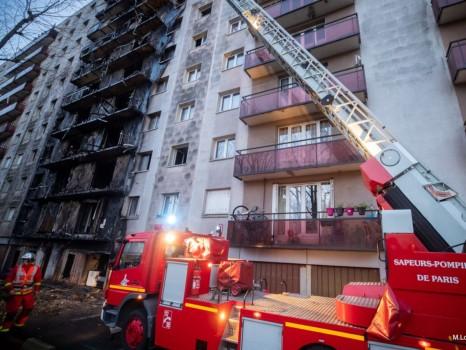 La zone de la façade touchée par l\'incendie